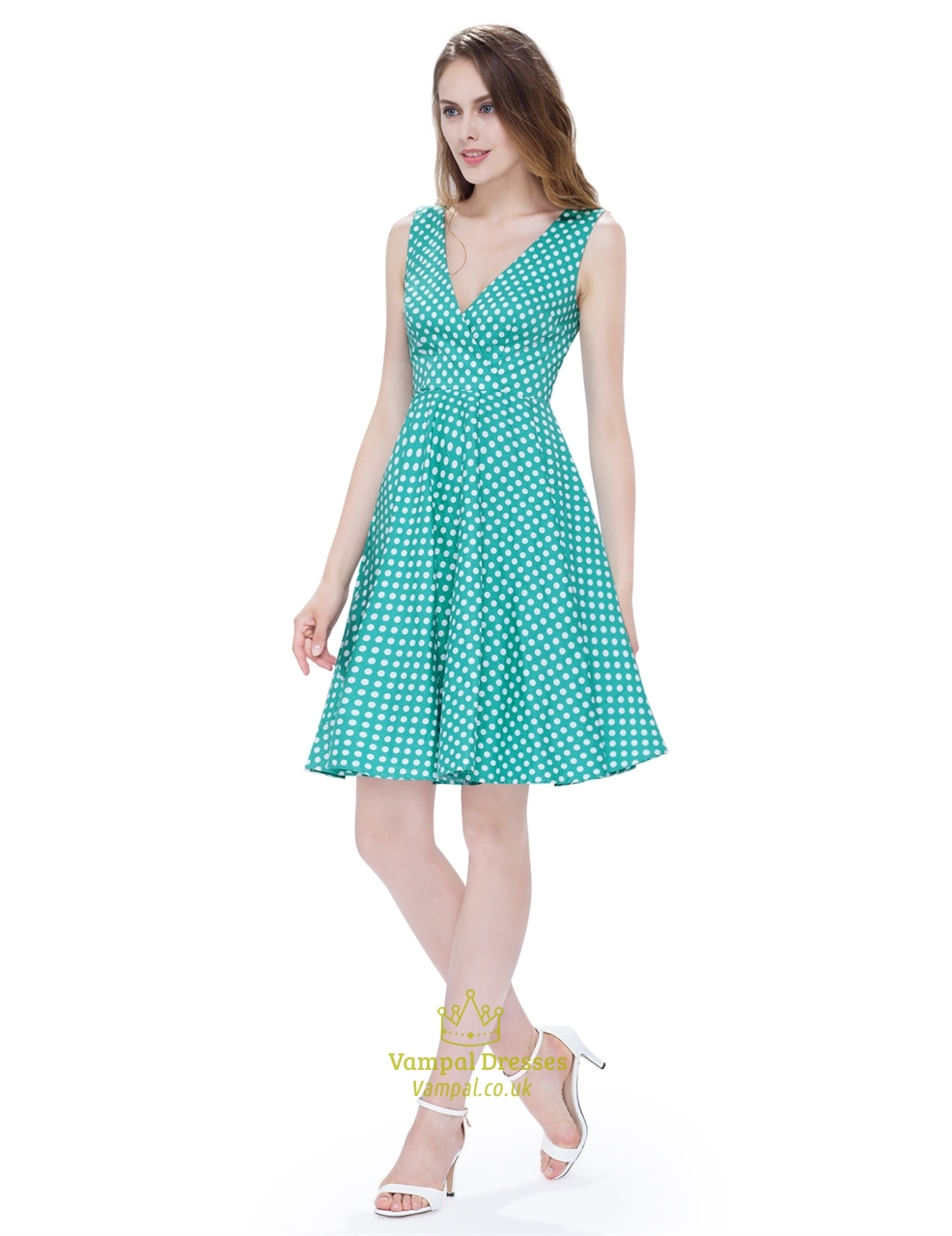 5e8134736718 Mint Green And White Polka Dot V Neck Sleeveless Fit And Flare Dress ...