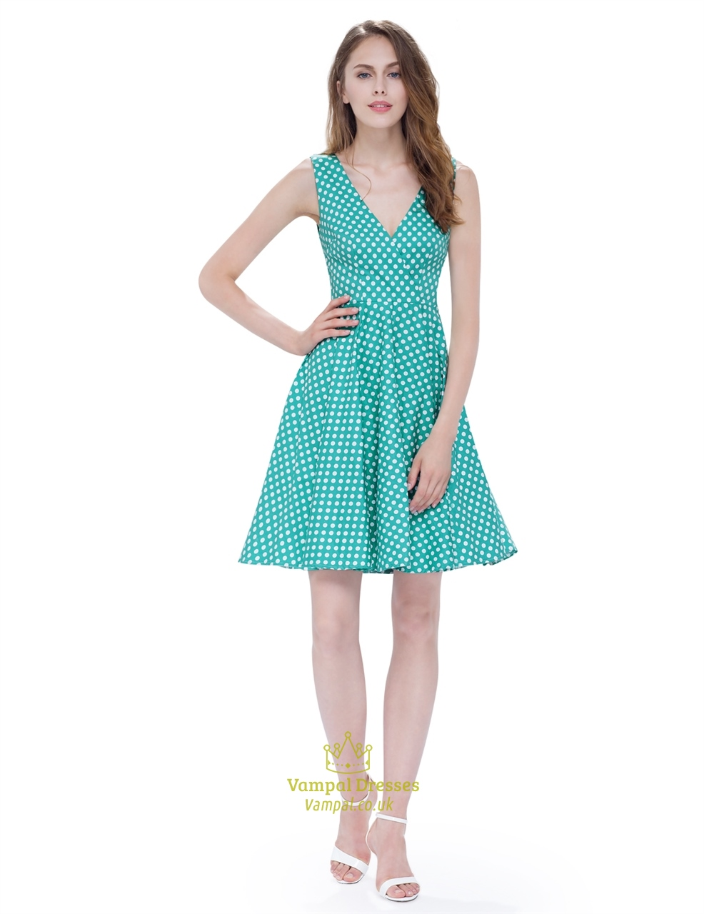 mint green and white polka dot v neck sleeveless fit and