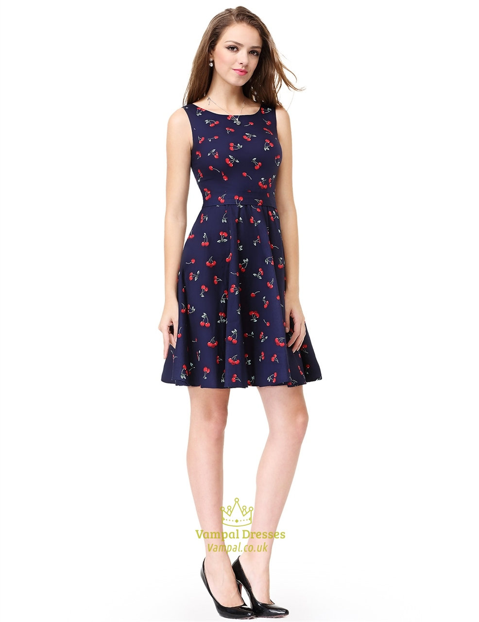 Womens Cherry Print Sleeveless Round Neck Fit And Flare Cocktail ...