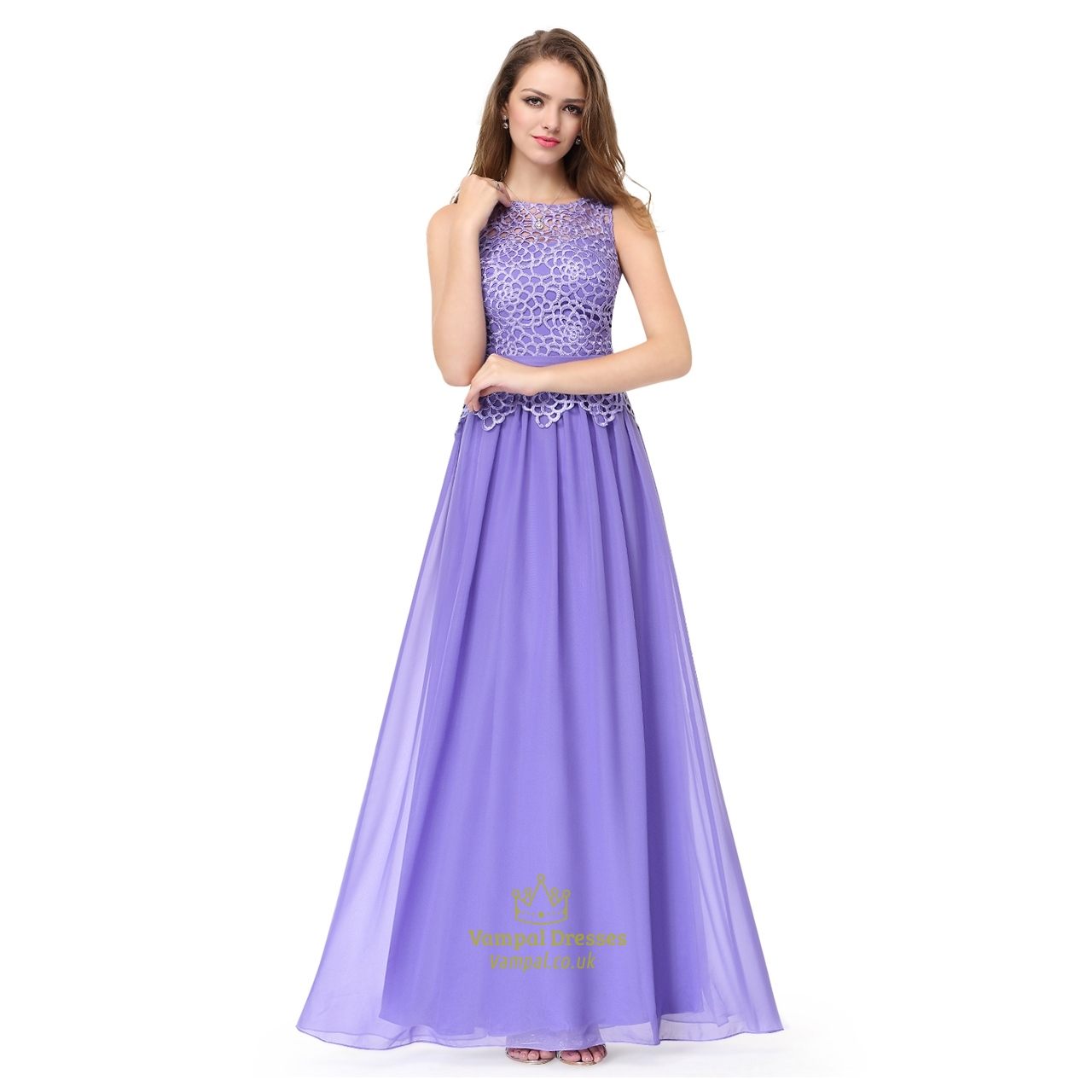 Amethyst Lace Top Chiffon Bottom Sleeveless Illusion Bridesmaid ...