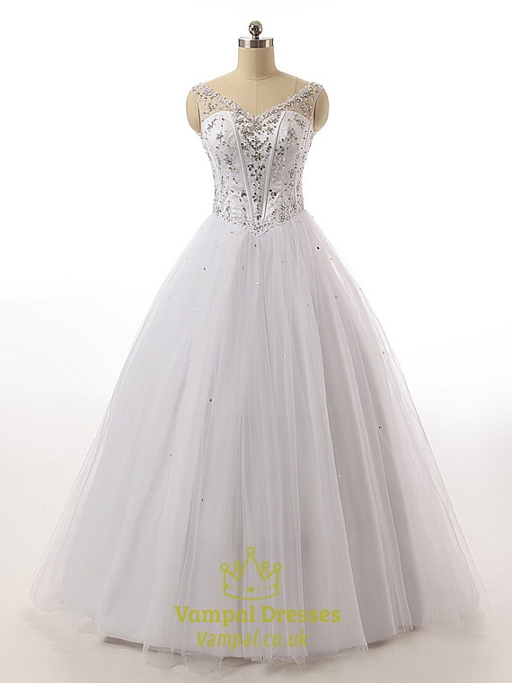 Crystal beaded corset bodice princess ball gown wedding for Princess corset wedding dresses
