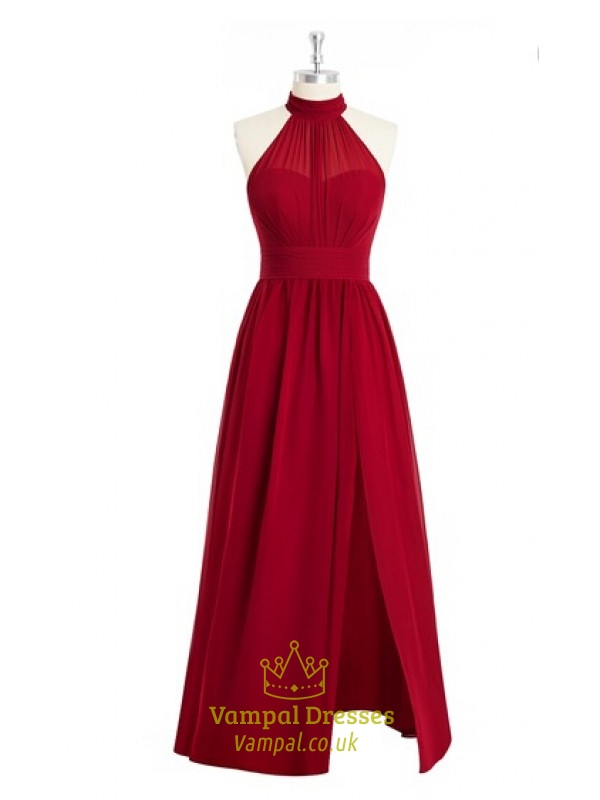Red Halter Neck A Line Long Chiffon Prom Dress With Slits