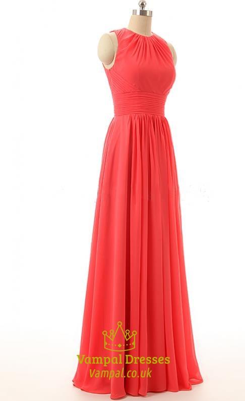 4d70b4d2d9b7 Coral A-Line Floor-Length Halter Prom Dress With Keyhole Back SKU -FS438