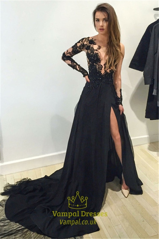 Sheer Lace Bodice Black Slit Prom Dress With Train And Long Sleeve ...