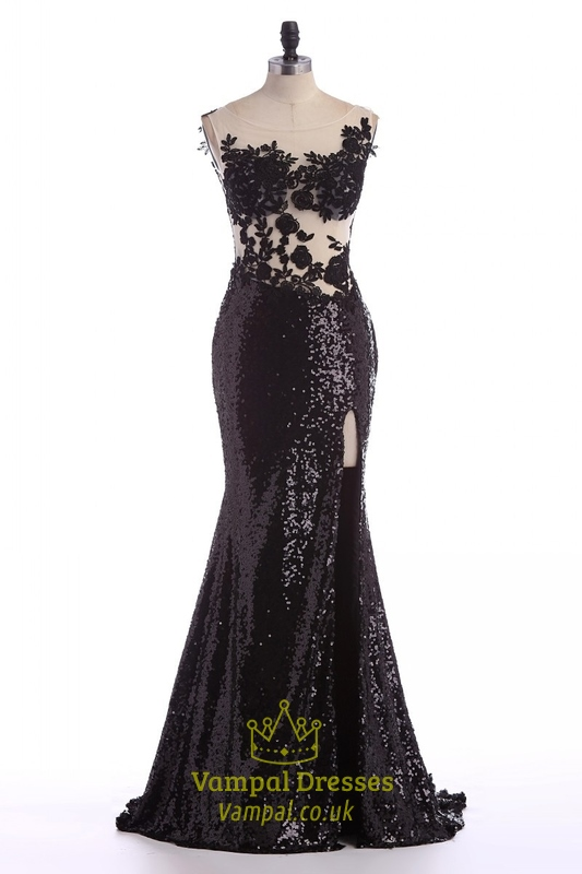 Black Sheer Lace Applique Backless Mermaid Sequin Prom Dress With ...