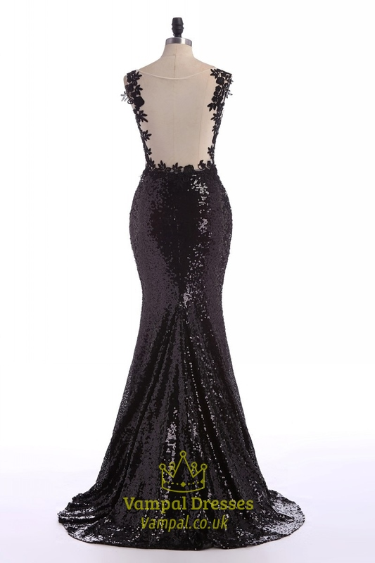 Black Sheer Lace Applique Backless Mermaid Sequin Prom