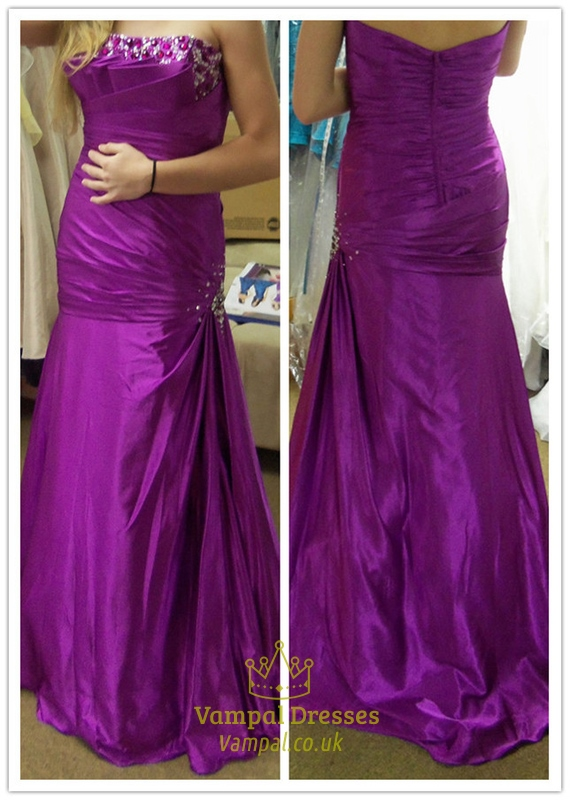 purple strapless backless long beaded ruched mermaid prom