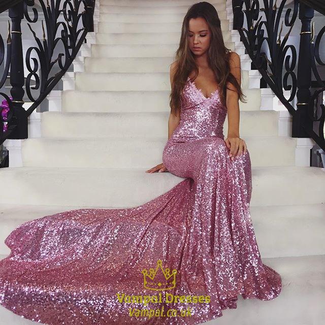 63a2549aea Chapel Train Spaghetti Strap Backless Sheath Sequin Mermaid Prom Dress