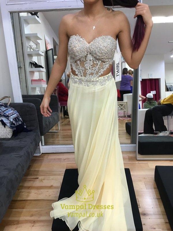Light Yellow Strapless A Line Backless Embellished Chiffon Prom Dress 82b0e2a698a9
