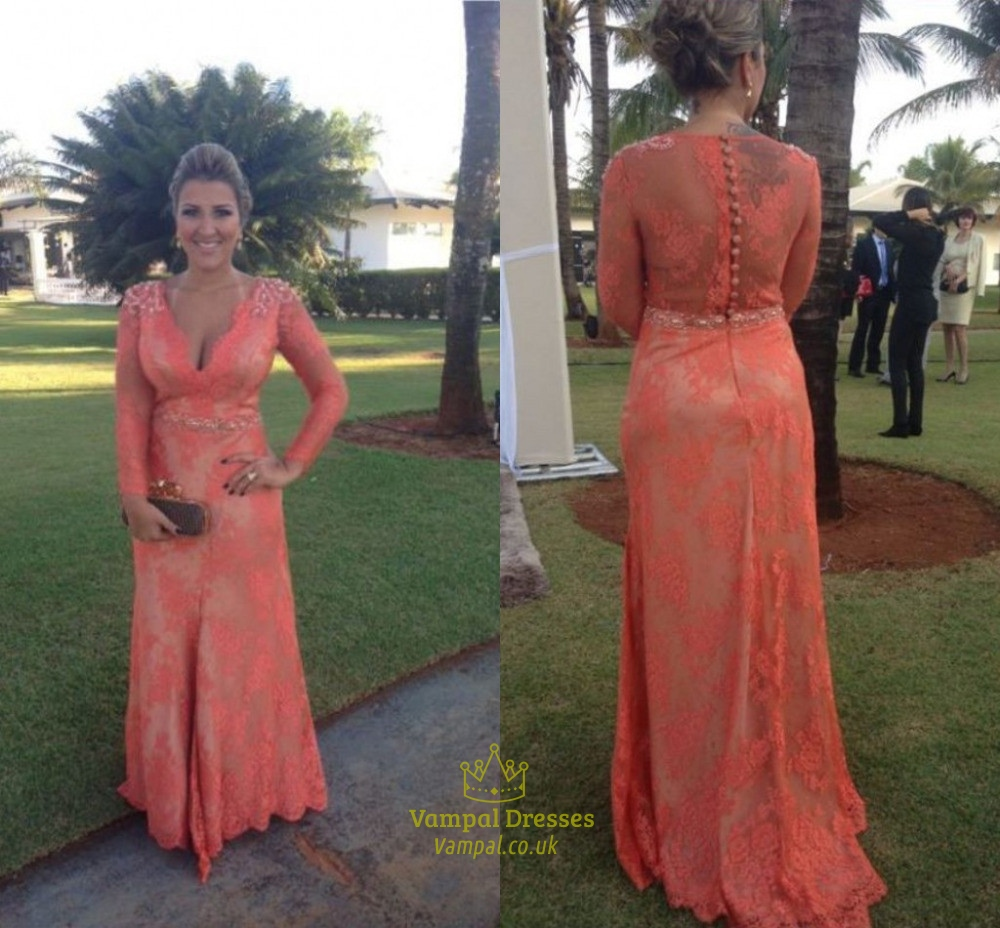 Coral Beaded Lace Embellished V Neck Long Sleeve Illusion Prom Dress