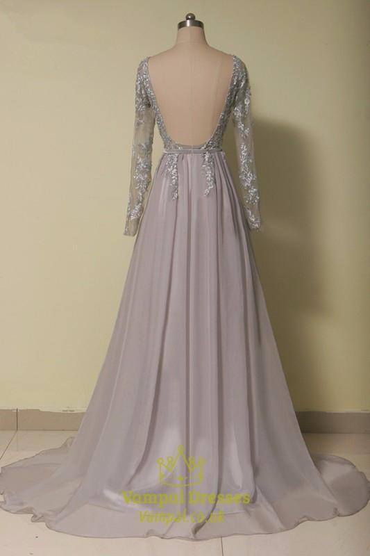 f41b47a54c319 Grey Illusion Lace Bodice Backless Chiffon Dress With Long Sleeves ...