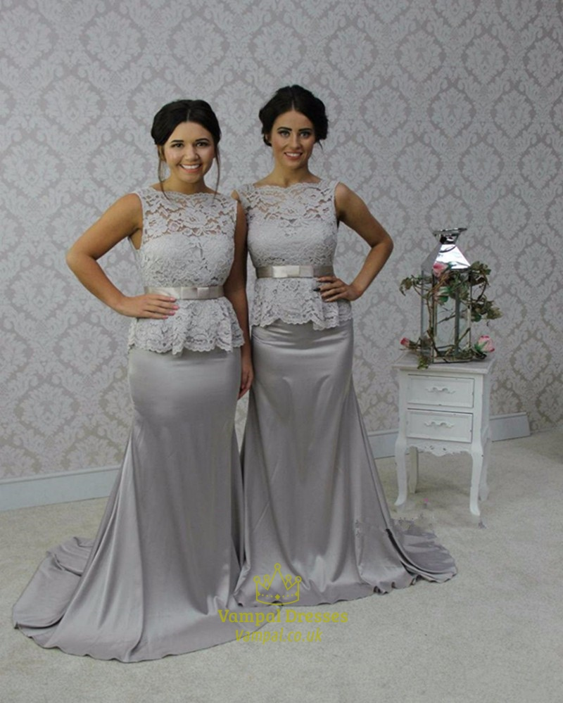 Grey lace bodice peplum sheath floor length bridesmaid dress with grey lace bodice peplum sheath floor length bridesmaid dress with bow ombrellifo Images