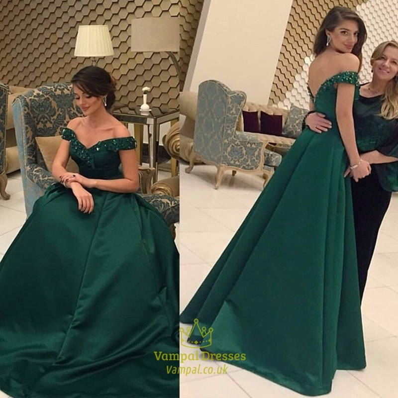 21a59e8cbd22 Emerald Green Off The Shoulder Beaded Backless Long Prom Dress SKU -FS503