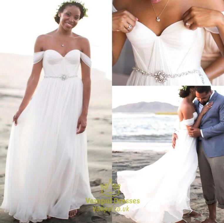 Casual white off the shoulder sweetheart beaded beach for Off the shoulder beach wedding dresses