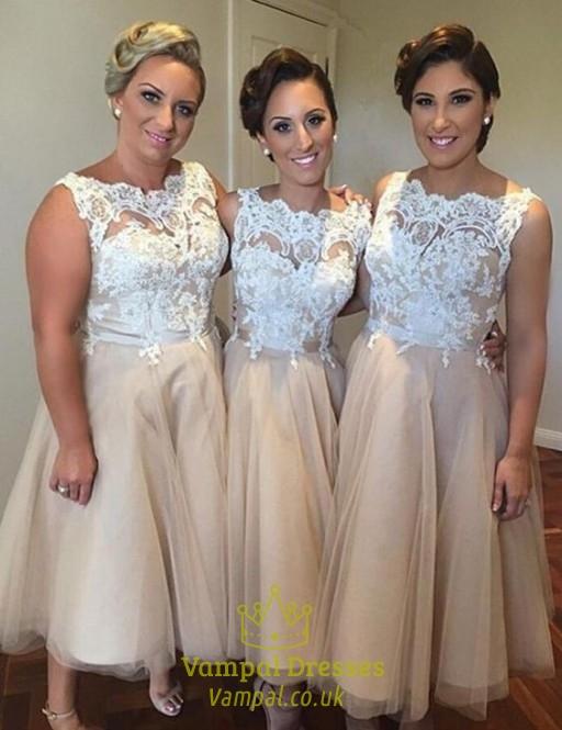 Champagne Lace Bodice Tulle Sleeveless Tea Length Bridesmaid Dresses ...