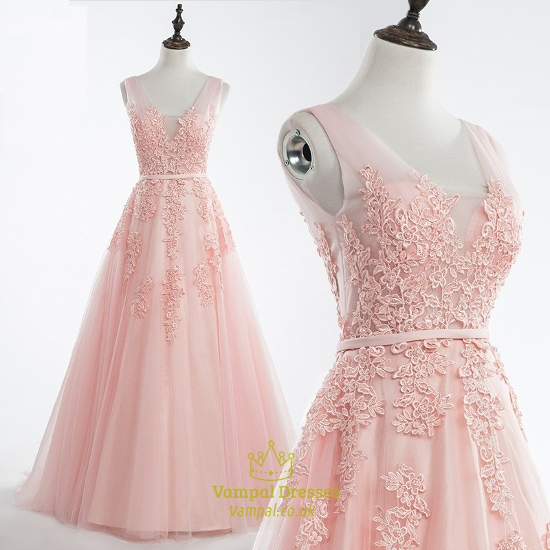 Blush Pink V Neck Lace Applique Tulle Ball Gown Prom Dress   Vampal ...