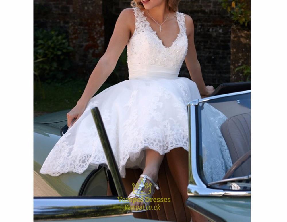 White short v neck beaded sleeveless lace applique wedding dress