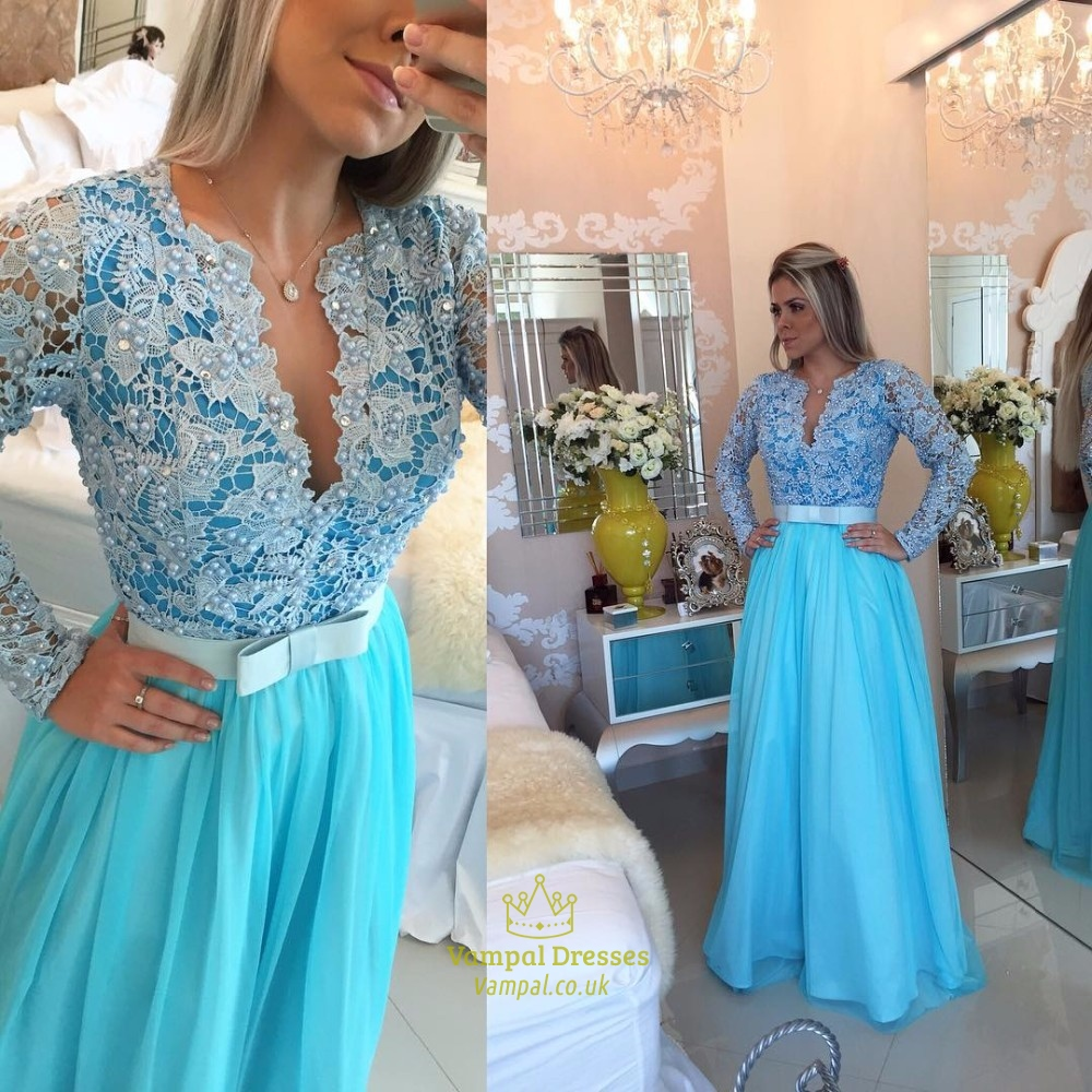 V Neck Long Sleeve Prom Dress | Vampal Dresses