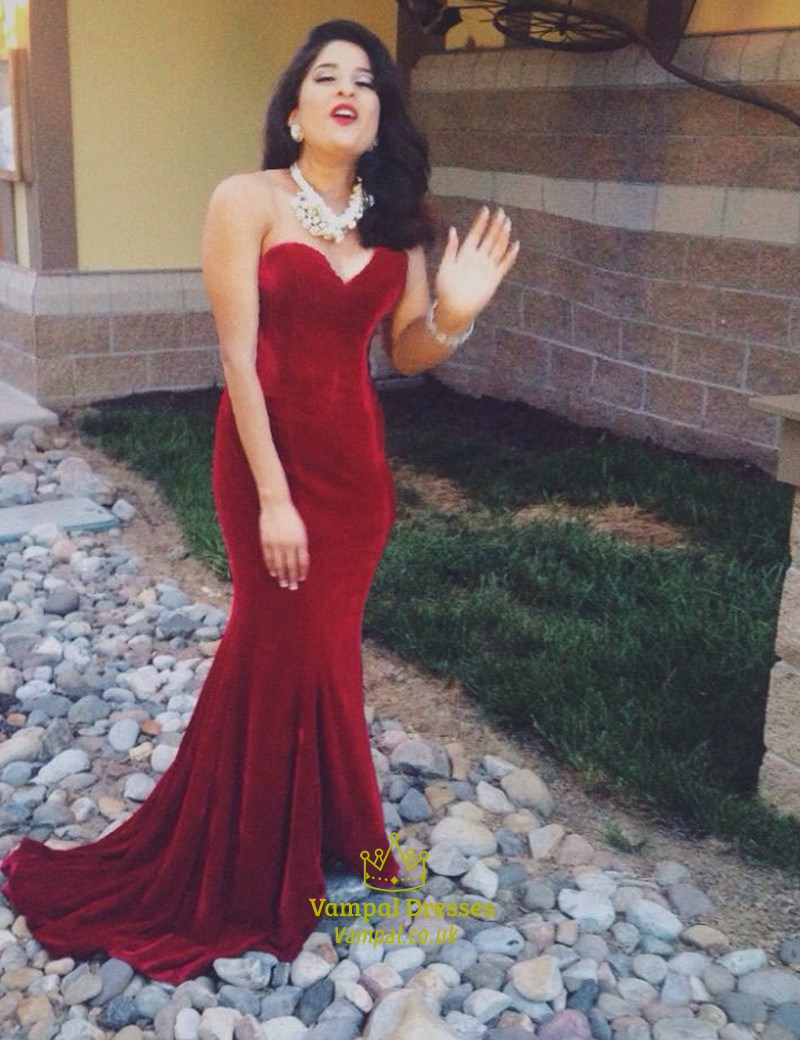 Burgundy Strapless Sweetheart Mermaid Floor Length Prom