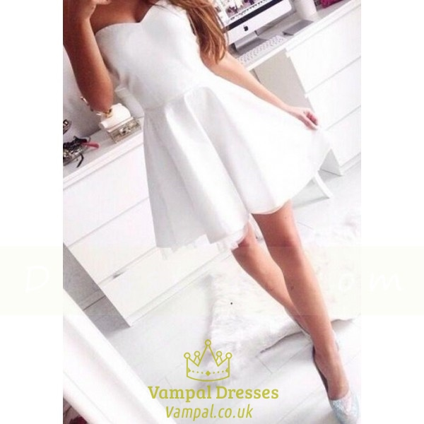 4aae91ef25f1e White Strapless Sweetheart Sleeveless Short Fit And Flare Party Dress