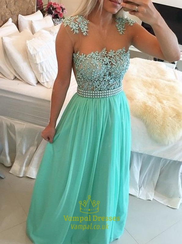 Turquoise Long Chiffon Prom Dress With Sheer Beaded Lace