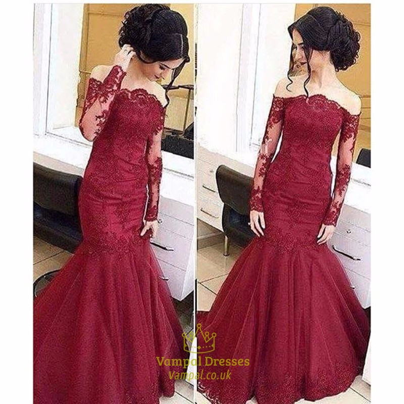 Burgundy Lace Embellished Mermaid Prom Dresses With Sheer Long