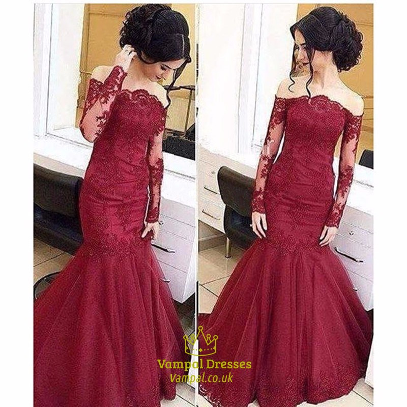 Burgundy Lace Embellished Mermaid Prom Dresses With Sheer
