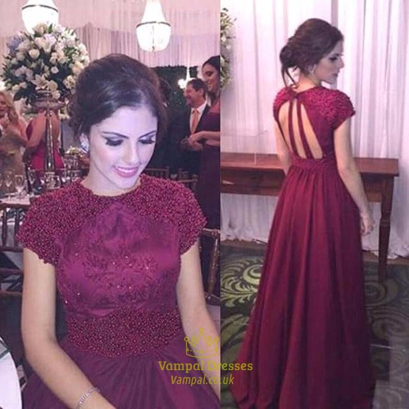 Burgundy Beaded Bodice Backless Cap Sleeve Long Chiffon Prom Dress ...