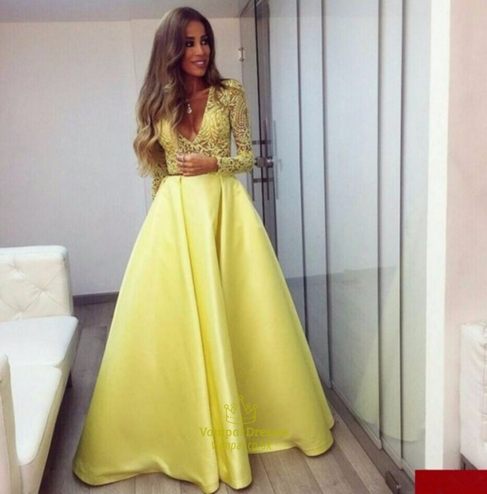 Deep V Neck Lace Bodice Long Sleeve Ball Gown Evening Dress | Vampal ...