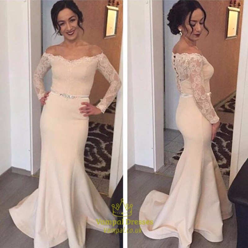 b55cb6bc602d Off The Shoulder Lace Long Sleeve Mermaid Prom Dress With Sheer Back SKU  -FS622