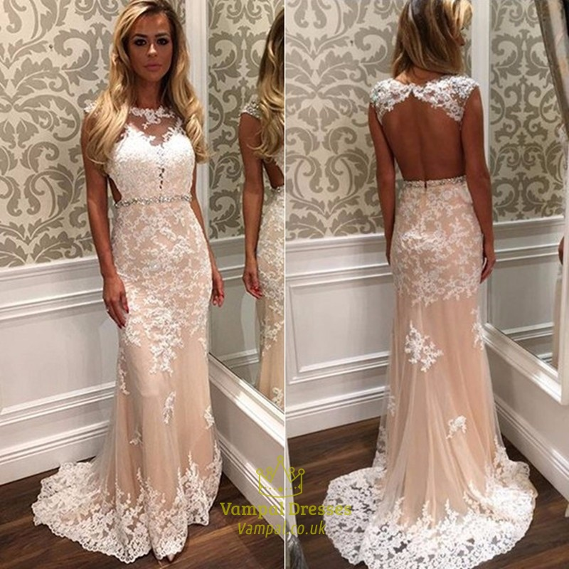 Champagne Backless Beaded Lace Long Prom Dress With Sheer Overlay ...