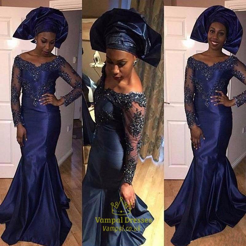 c100568a438 Navy Blue Off The Shoulder Sheer Beaded Long Sleeve Mermaid Prom Dress SKU  -FS634
