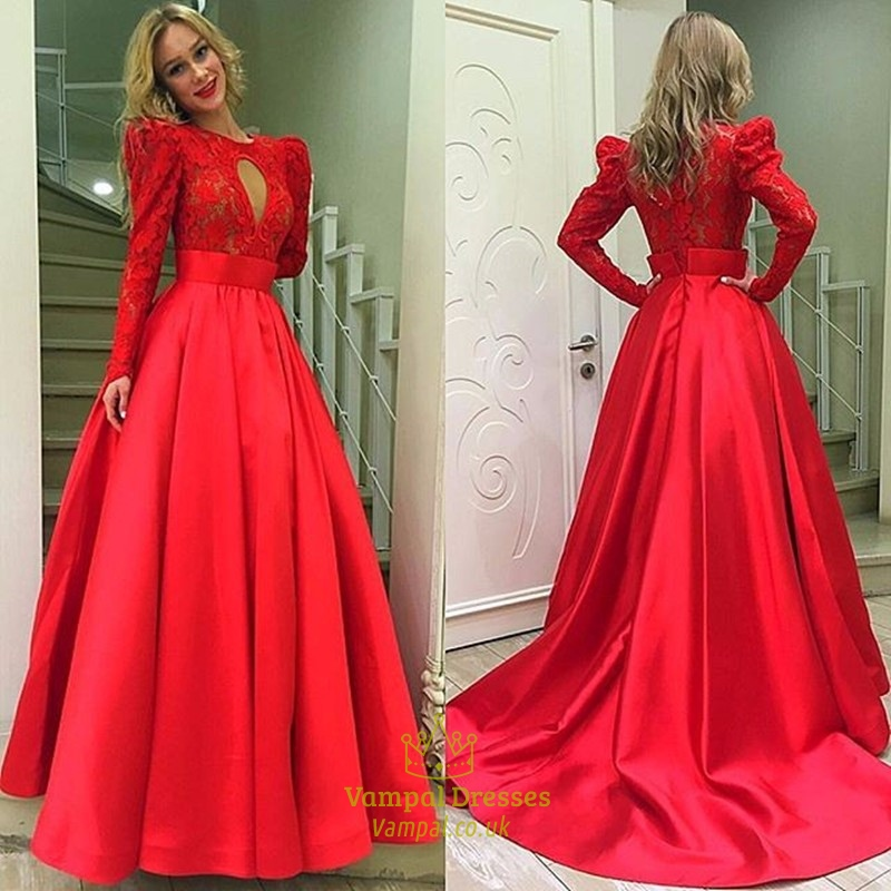 Red Lace Bodice Lace Long Sleeve Prom Dress With Keyhole Detail ...