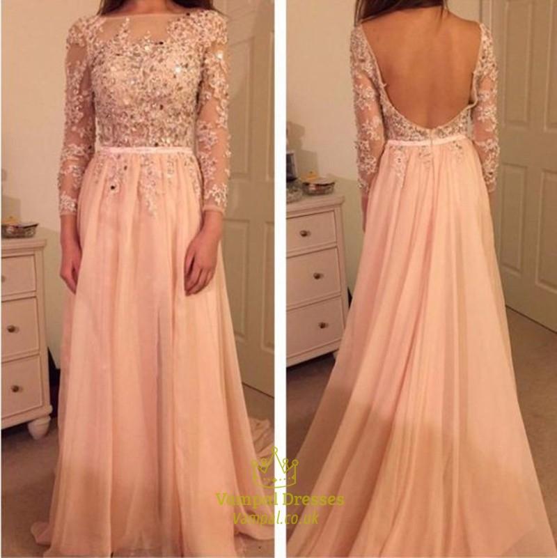 f3155b6cd5c1e Pink Beaded Backless Lace Bodice Long Sleeve Chiffon Prom Gown SKU -FS654
