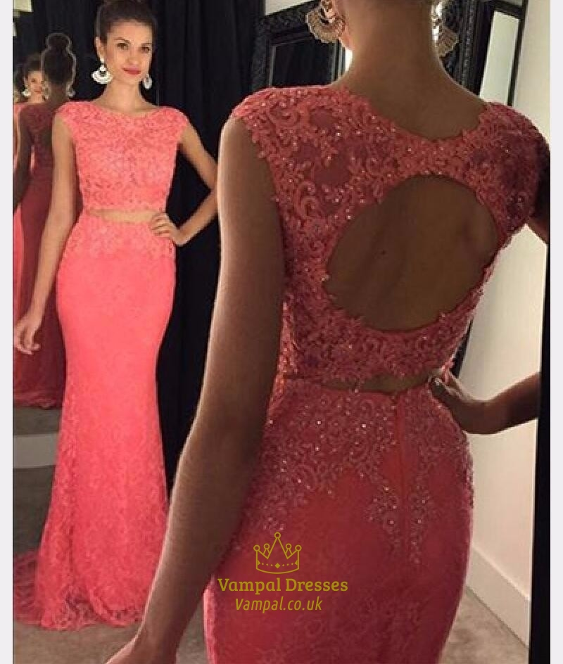 coral cap sleeve beaded backless lace mermaid long evening