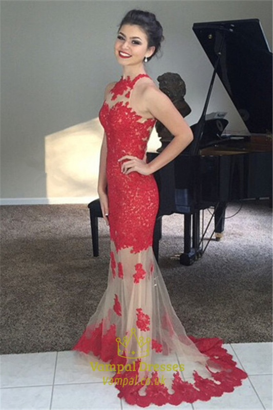 c801f85c22 Red High Neck Lace Mermaid Prom Dress With Sheer Illusion Skirt SKU -FS668