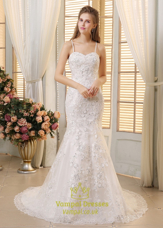 White Spaghetti Strap Sequin Embellished Mermaid Wedding Dress ...