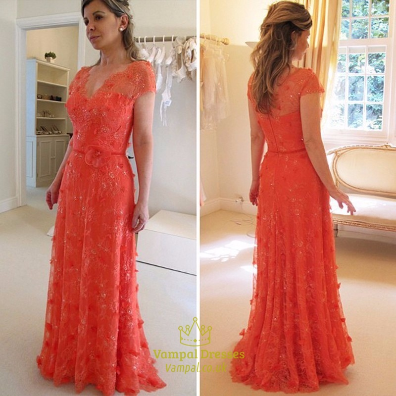fb3a4c4c4880 Illusion Bodice Lace Embellished Cap Sleeve Mother Of The Bride Dress