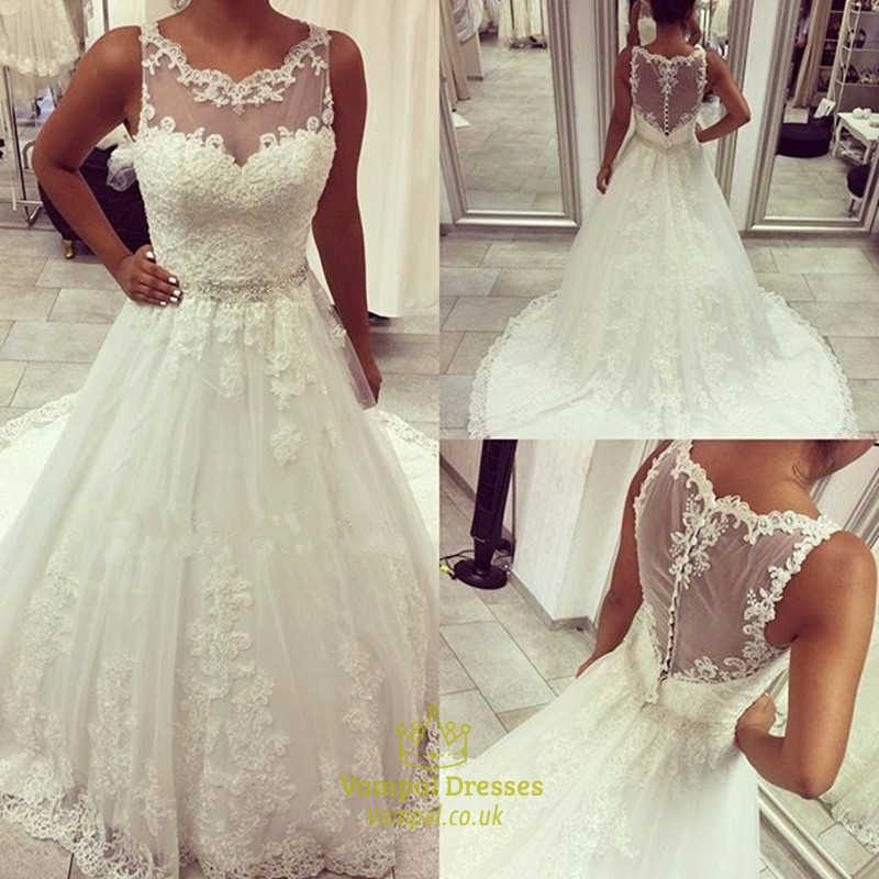 Beaded lace applique sheer back wedding dress with buttons for Lace button back wedding dress