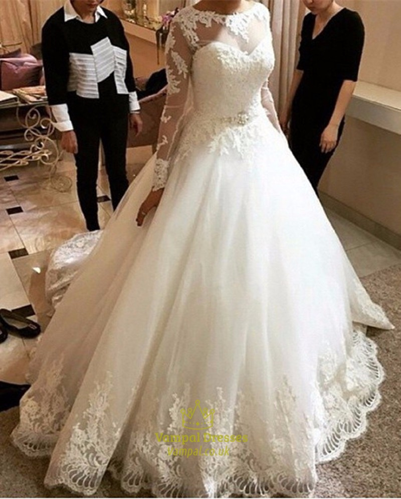 Ivory lace bodice ball gown wedding dress with sheer long for Sheer bodice wedding dress