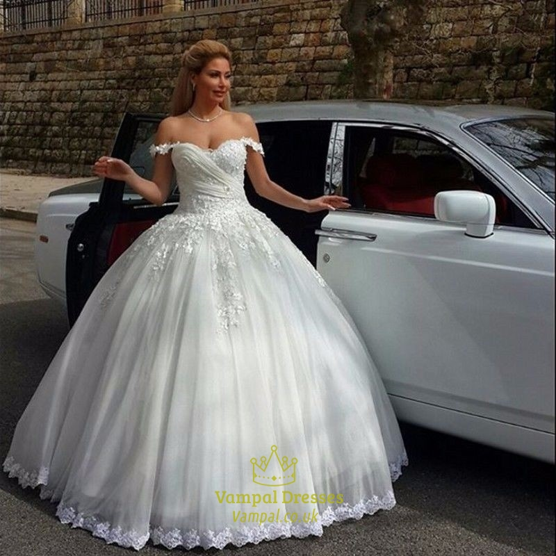 Ivory Off The Shoulder Lace Embellished Bodice Ball Gown Wedding ...