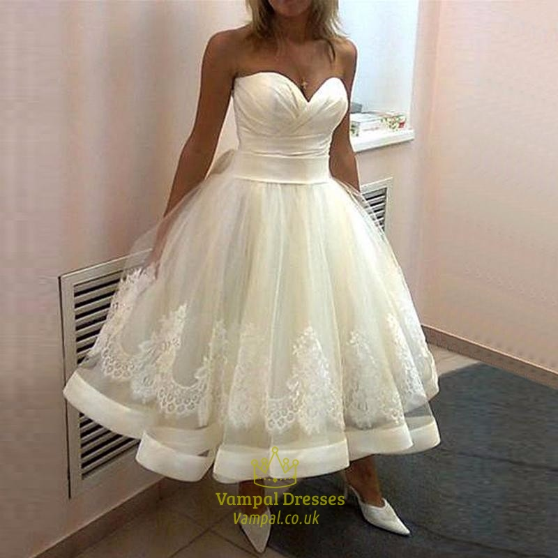 Tea Length Strapless Sweetheart Applqiue Ball Gown Wedding