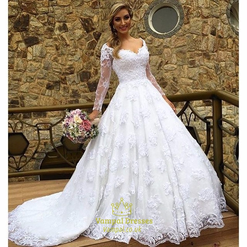 White V Neck Sheer Long Sleeve Lace Ball Gown Wedding Dress | Vampal ...