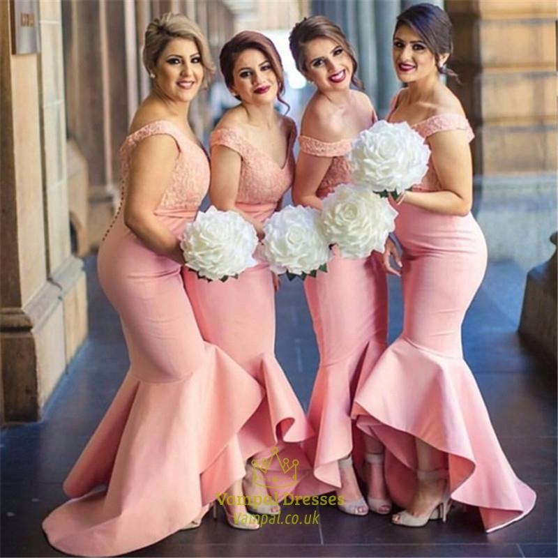 Elegant Off The Shoulder Lace Bodice Mermaid Bridesmaid Dresses ...