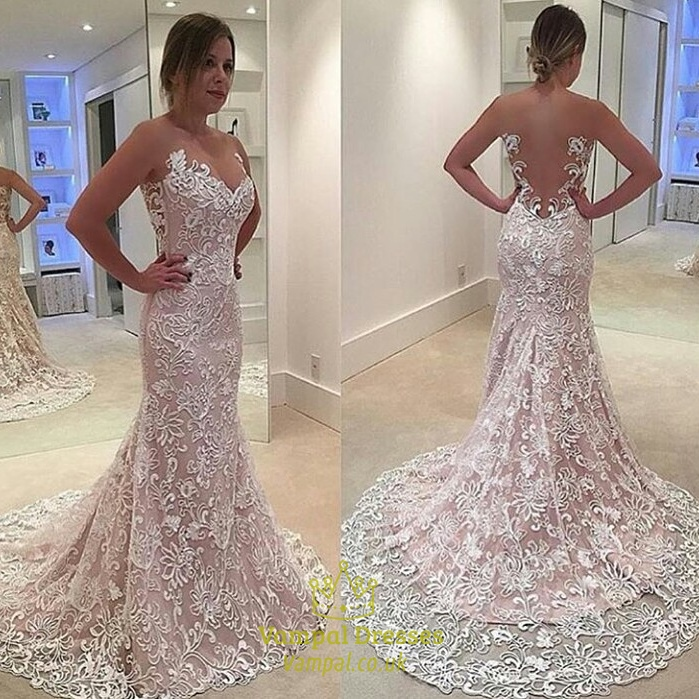 illusion neck sheer back lace mermaid wedding dress with