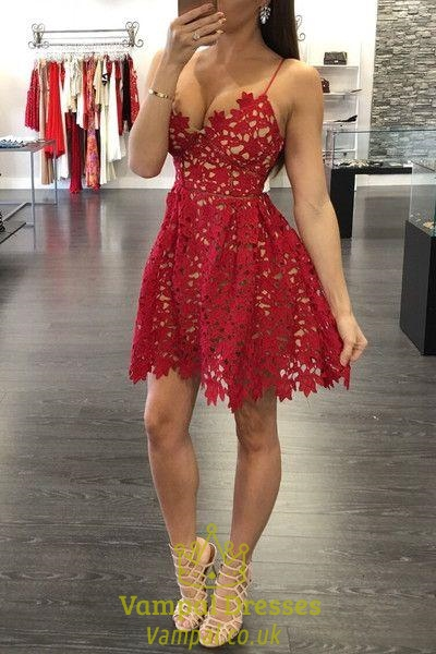 6e035ffa493 Red Lace Applqiue V Neck Spaghetti Strap Fit And Flare Party Dress ...