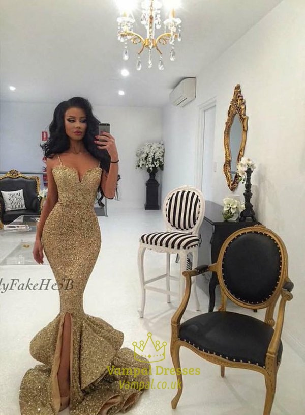 Gold Sequin Mermaid Sweetheart Ruffle Bottom Prom Dress