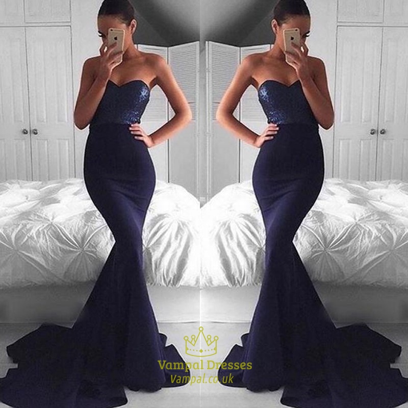 Black Strapless Sequin Bodice Mermaid Prom Dress With Long Train ...