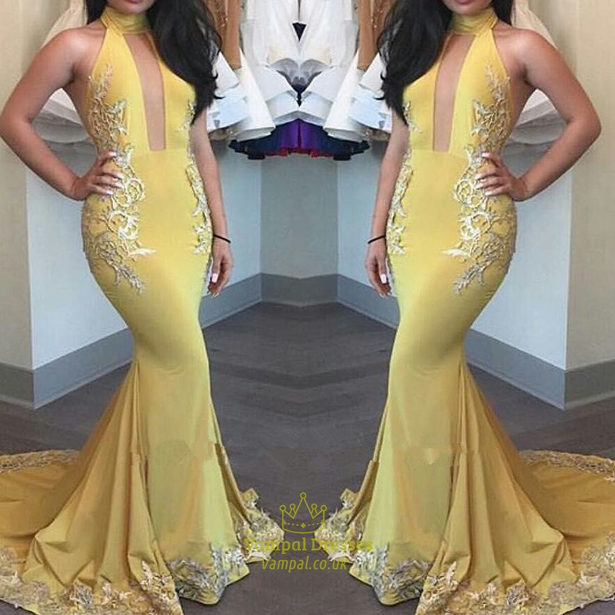Yellow Lace Applique Halter Neck Mermaid Prom Dress With