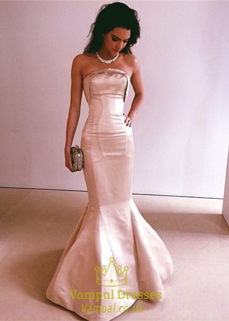 Blush Pink Strapless Sleeveless Mermaid Floor Length Evening Gown ...
